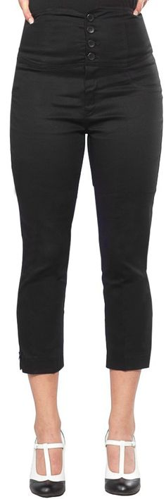 STEADY ANCHOR CAPRIS BLACK Grab yourself a pair of sea worthy bottoms for your next adventure! These black high waisted capris from Steady feature a 4 button waist, bow detail at the leg, and embroidered anchor back pockets. $58.00 #steady #capris #retro #pinup #nautical #anchor #highwaisted