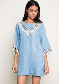 Love this one! This washed denim is fantastic! The V fringe front detail is very slimming! Great full sleeves! Just perfect. Say YES to this Dress!