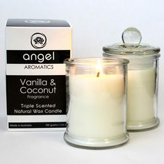 Vanilla and Coconut Small Glass Candle - found at www.giveagift.com.au