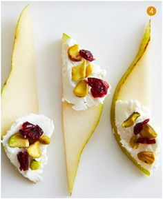 Pears Goat Cheese Pistachios and dried cranberries  Delicious. Next time I want to try these with a black pepper Boursin cheese for those who do not enjoy the goat cheese :)