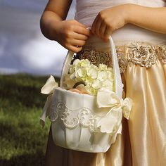 Need flower baskets with embroidery for adorable flower girls. Description from renttycoons.com. I searched for this on bing.com/images