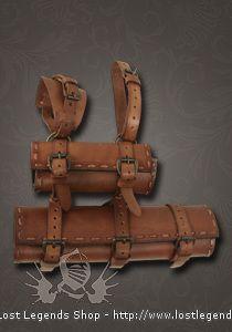 LARP Doppelschwerthalter Leder, braun
