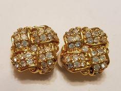 Vintage Swarovski gold tone Crystal Clip Earrings Swan Signed #Swarovski