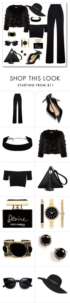 """""""So Chic In Black"""" by lois-boyce-flack ❤ liked on Polyvore featuring Misha Nonoo, M. Gemi, Alice + Olivia, American Apparel, Dolce&Gabbana, Style & Co., Mela Artisans, Kate Spade, Topshop and black"""