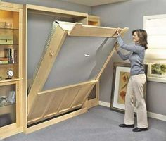murphy bed plan- I want to do this with a chalk board on the back side. So I can have a memo board for the office.