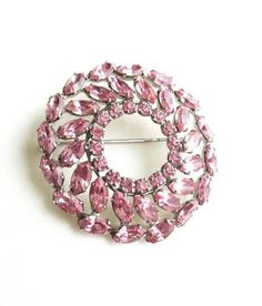 Vintage Brooch by B David  with pink by popgoesmyvintage on Etsy, $30.00