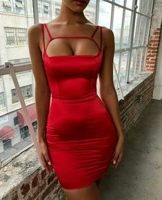 2019 Fashion Women Hollow out Sexy Dress Spaghetti Strap Backless Mini Dress Bodycon Solid Party Dress Tight Dresses, Satin Dresses, Sexy Dresses, Cute Dresses, Evening Dresses, Prom Dresses, Mini Dresses, Dresses Uk, Bandage Dresses