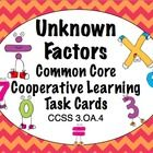 "3rd Grade Common Core Math Task Cards - Your students will love to practice unknown factor problems with this set of 24 self-checking task cards. They are perfect for centers, small groups, ""Scoot"" games, or whole class practice! This is a great way to review CCSS 3.OA.4. $"