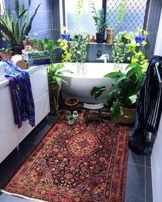 "4,998 Likes, 108 Comments - Jo @ La Boheme (@labohemehouseofthewishingtrees) on Instagram: ""Our gorgeous 'Afareen' persian rug hugging the floors of the jungle bathroom. (Link in bio) . .…"""