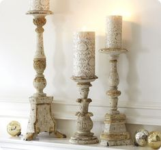 White & Gold Wooden Pillar Holders DIY with thrift store and IKEA holders The Effective Pictures We Offer You About shabby chic candle holders A quality picture can tell you many thin Shabby Chic Candle Holders, Wooden Candle Holders, Candlestick Holders, Large Candles, Pillar Candles, Chandeliers, Wooden Pillars, Thrift Store Crafts, Gold Wood