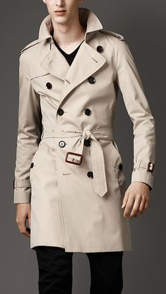 Burberry London Mid-Length Cotton Gabardine Trench Coat