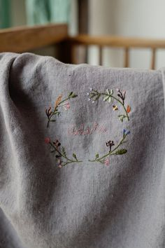 Newborn Gifts, Baby Gifts, Embroidered Baby Blankets, Welcome Home Gifts, Linen Stitch, Personalized Baby Blankets, Baby Cover, Hand Embroidery Patterns, Sewing For Kids