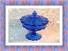 1960\'s L.E. Smith Blue Glass Petal Lidded Compote. Starting at $30