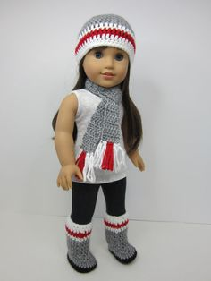 American girl doll clothes   3 pc  grey crochet  by JazzyDollDuds