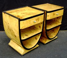 Art Deco Elm Night stands or end tables... Either way they're a beatiful example of Art Deco style furniture.