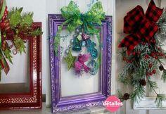 Adorno navideño utilizando un marco reciclado