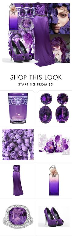 """""""Purple Saturday in Fall"""" by jaymagic ❤ liked on Polyvore featuring Cultural Intrigue, Design Art, Versace, Hanae Mori, Giuseppe Zanotti and luxexo"""