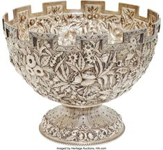 Military & Patriotic:Civil War, Jefferson Davis: An Exceptional Samuel Kirk & Son CastellatedRepousse Coin Silver Bowl Presented to Mrs. Jefferson Davis by t. Vintage Silver, Antique Silver, Silver Coins, Silver Plate, Jefferson Davis, Bronze, Precious Metals, Punch Bowls, Metal Working