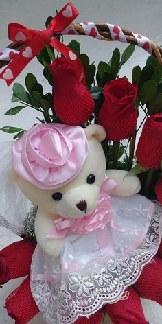 Valentines Day Teddy Bear, Valentine Day Love, Valentine Crafts, Teddy Day Images, Good Morning Beautiful Pictures, Teddy Toys, Good Morning Coffee, Good Morning Greetings, Bunch Of Flowers