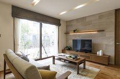 Home Living Room, Living Room Designs, California Living, Roman Blinds, Tv Cabinets, House Design, Windows, Curtains, Interior Design