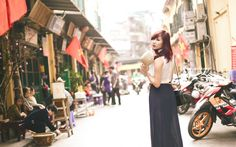 Girl Asian City Alley Shops Photo HD Wallpaper