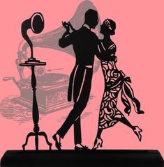 Image result for silhouette people art deco