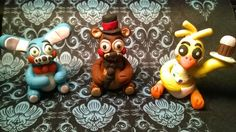Five nights at Freddy's inspired sculptures. This is the second set of the toy characters from Five nights at Freddy's 2.  Available for purchase here: https://www.etsy.com/listing/216324680/five-nights-as-freddys-sculpture?ref=shop_home_feat_2