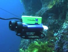 ROVs are remote controlled underwater vehicles. They are usually very small and they have cameras that are attached to them so that the operator can see what they are doing. They are used to get in to small tight spaces and get up close to marine animals. Also it gets its power from the tether that attaches it to a power source and a boat.