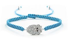 Lucky Eyes Turquoise woven friendship bracelet with sterling silver crystal owl