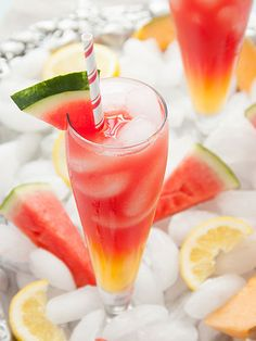 Watermelon-Cantaloupe Lemonade:  The cantaloupe-lemonade base needs to be made from scratch, but the payoff is this impressive-looking (and tasting!) concoction.