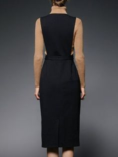 Black Plunging Neck Sleeveless H-line Plain Midi Dress Day Dresses, Dress Outfits, Dresses For Work, Midi Dresses, The Dress, Dress Skirt, Style Hijab Simple, Moda Formal, Work Fashion