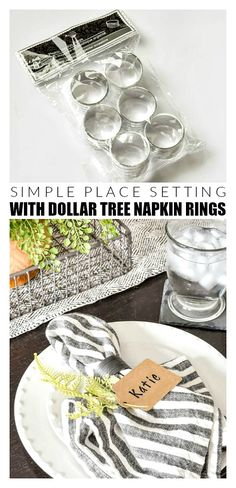 Simple Spring Place Setting With Dollar Tree Napkin Rings Create the perfect simple and affordable place setting with updated Dollar Tree napkin rings, sprigs of greenery and brown gift tags. Farmhouse Napkin Rings, Farmhouse Napkins, Rub N Buff, Christmas Napkin Rings, Christmas Napkins, Beaded Napkin Rings, Wedding Napkin Rings, Diy Napkin Rings, Cheap Favors