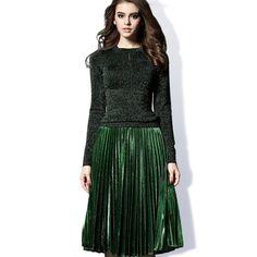 European American Women s Elegant Design 2017 Spring Fall Knitted Blouse  Pleated Skirt Plus Size XXXL Green 4edcbaa1e609