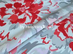 "silk fabric, beautiful huge peony flowers print silk cotton blend twill fabric, half yard by 44"" on Etsy, $9.50"