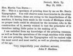 First letter on a typewriter, 1829.