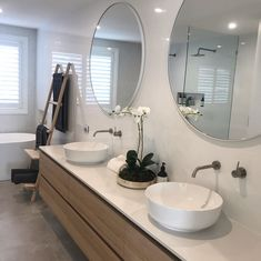 Create your own 5 ⭐ blissful bathroom with our Belga Grey and White Gloss Rectifed 📸 Gray And White Bathroom, Modern Bathroom Tile, Wood Bathroom, Minimalist Bathroom, Bathroom Renos, Grey Bathrooms, Bathroom Renovations, The Block Bathroom, Modern Small Bathrooms