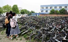 Hundreds of abandoned bicycles are seen in a 'bicycle tomb' at Sichuan University in Chengdu, capital of southwest China's Sichuan Province