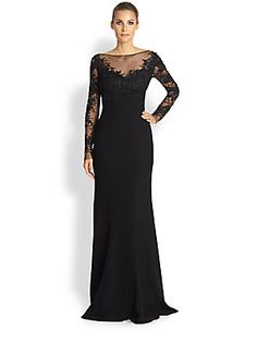 ML Monique Lhuillier Embroidered Tulle Mermaid Gown 898.00...Intricate embroidery on sheer tulle creates an elegant illusion on this sweeping floor-length style.