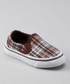 Take a look at this Collection'O Brown Plaid Shoe by Mad for Plaid: Kids' Apparel & Shoes on #zulily today!  #fall