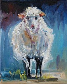 ARTOUTWEST DAILY PAINTING AUGUST 10 SHEEP LAMB ANIMAL ART OIL PAINTING ORIGINAL -- Diane Whitehead