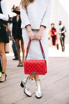 Winter White Mohair, Red Chanel Boy Bag, Barbara Bui Silver Boots
