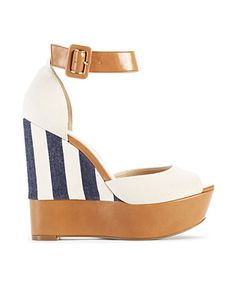 I haven't worn a pair of wedges in YEARS. But I would be willing to make a change for these chunky goodnesses. Yes, I just made up a word.