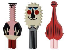 Fabulously funky painted wooden folk art design dolls by Séverin Millet.