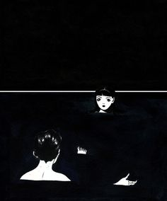 kyung-me [i imagine lyra + will] - beautiful watercolour Lyra Belacqua, Negative Space, Thats Not My, Ocean, Tumblr, Watercolor, Ink, Black And White, Drawings