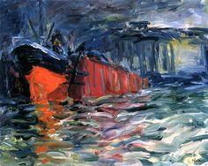 ALONGTIMEALONE: bofransson: Ship in the Dock Emil Nolde - 1910