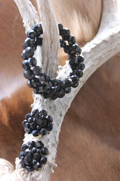 BLACK GLASS Bead Wrap Bracelet and Earrings,MAGNICICENT by FrancieLouiseJelly on Etsy