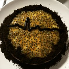 New York Baked Cheesecake with Passionfruit, an Oreo crumble and a ripple chocolate base. Absolutely divine!!