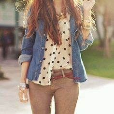 gold accesories, chambray top, polka dot button up, corduroy beige skinnies, whiskey belt