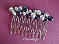 Bridal comb, Wedding hair comb, Pearl rhinestone fascinator, Navy blue grey pearl mix, Bridesmaid accessories, Beaded pearl silver comb.