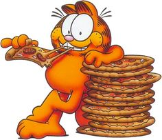 It's Garfield's birthday today and he loves pizza! Celebrate by eating pizza in honor of this kitty today!